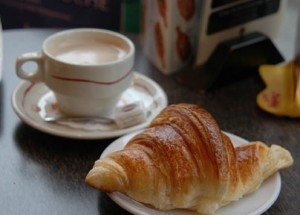 A flaky croissant and a good cafe au lait approaches perfection.