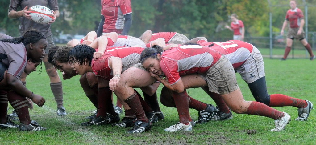 The Rugby scrum is the heart of the Ruby team - 8 players working together to win the ball.