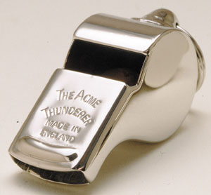 It's an Acme Thunderer. The official whistle for Rugby.