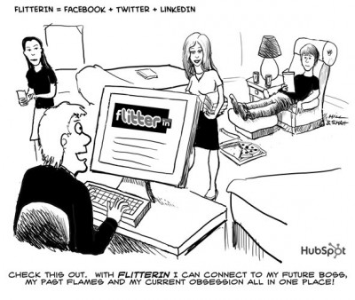 This cartoon from Mashable and Hubspot sums up what some seeing social media devolving into.